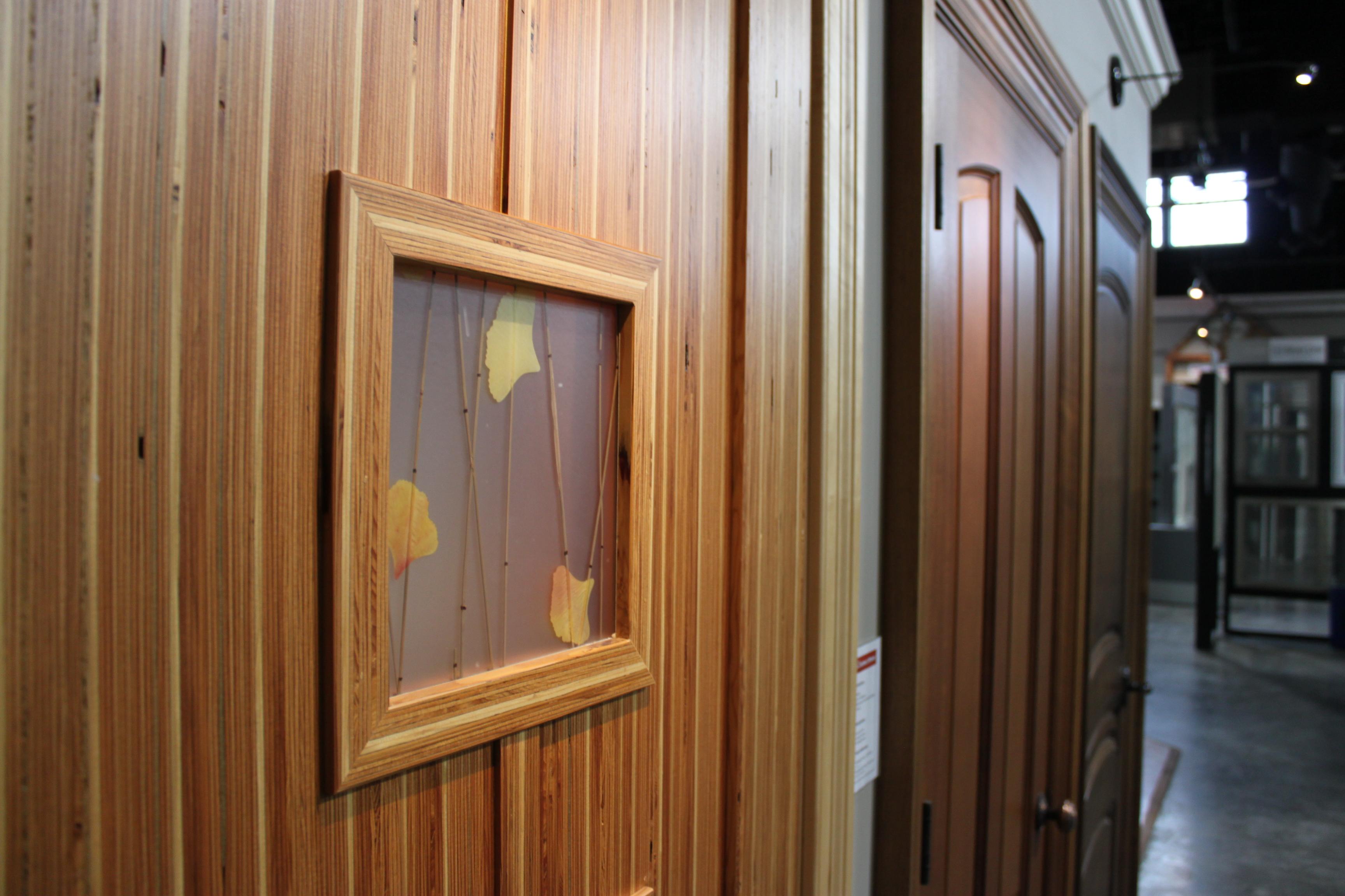a view of a wooden door