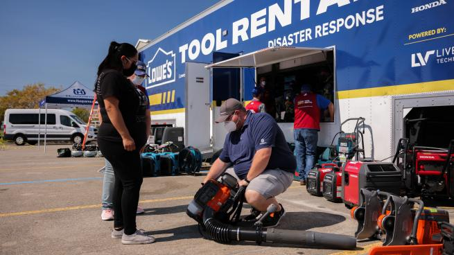 Customer checking out tool rentals
